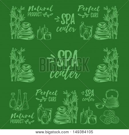 Hand drawn vector pattern SPA and Beauty pictures