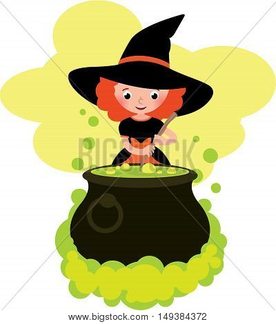 Girl in costume Halloween witch cooks a potion in the big pot Stock cartoon vector illustration