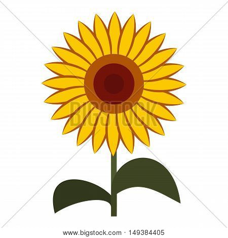 Sun flower icon in flat style isolated on white background. Plant symbol vector illustration