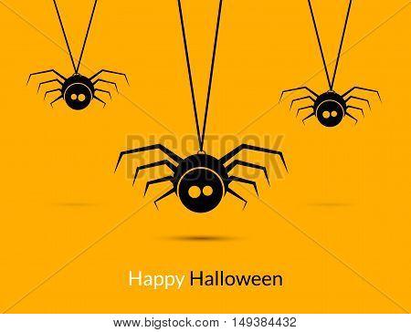 Halloween spiders design poster template. Happy Hallooween decoration of cute spiders.