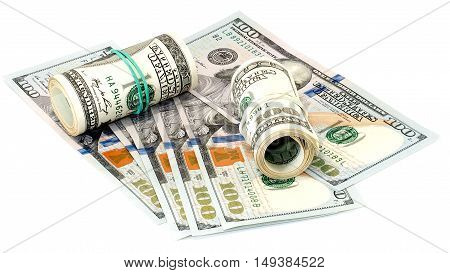 Bundle of US 100 dollars bank notes isolated on white background