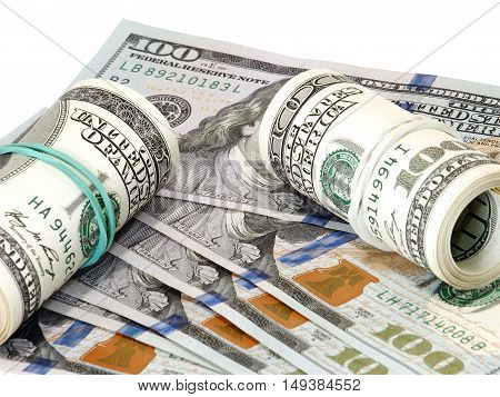 Bundle of US 100 dollars bank notes