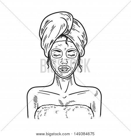 Spa Woman applying Facial clay Mask Beauty salon picture