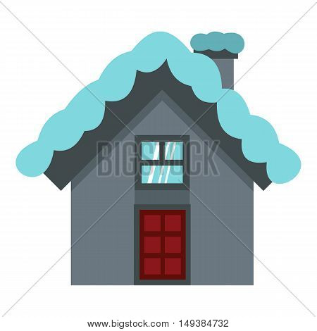 House with snow on roof icon in flat style isolated on white background. Building symbol vector illustration