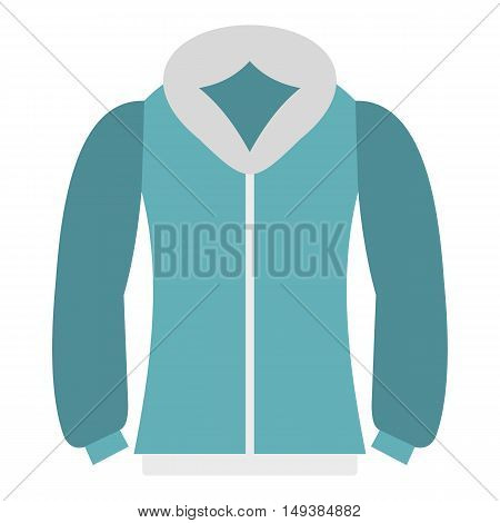 Blue mens winter jacket icon in flat style isolated on white background. Clothing symbol vector illustration