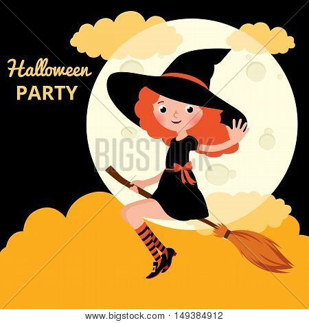 Little red haired witch flying on a broom on background of the moon on the night of Halloween Stock cartoon vector illustration