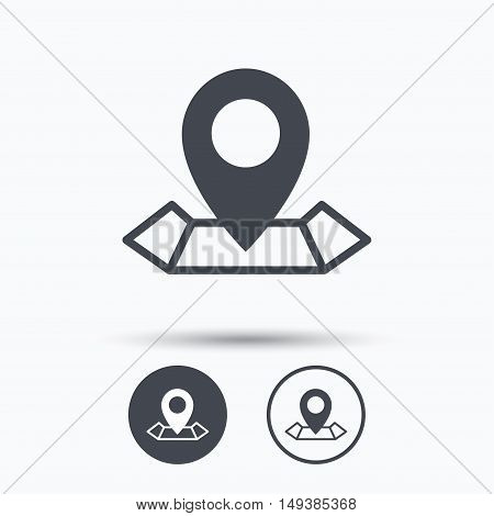 Location icon. Map pointer symbol. Circle buttons with flat web icon on white background. Vector