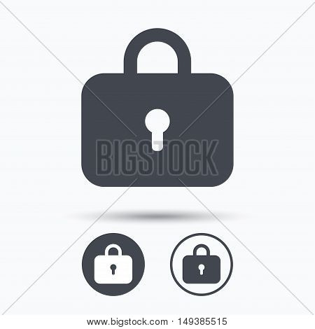 Lock icon. Privacy locker sign. Closed access symbol. Circle buttons with flat web icon on white background. Vector