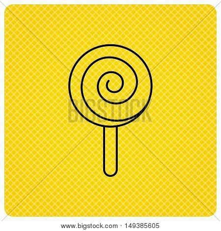 Lollipop icon. Lolly pop candy sign. Swirl sugar dessert symbol. Linear icon on orange background. Vector