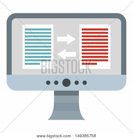 Translation of text on computer icon in flat style isolated on white background. Translate symbol vector illustration