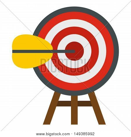 Target with arrow icon in flat style isolated on white background. Sport symbol vector illustration