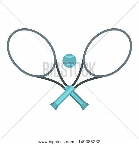 Tennis racket and ball icon in flat style isolated on white background. Sport symbol vector illustration
