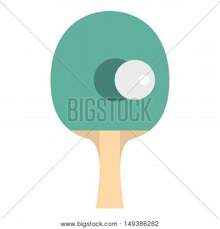 Table tennis racket with ball icon in flat style isolated on white background. Sport symbol vector illustration