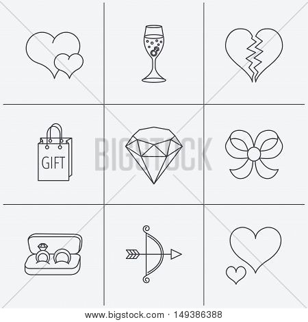 Love heart, gift box and wedding rings icons. Broken heart and engagement linear signs. Valentine amour arrow, brilliant flat line icons. Linear icons on white background. Vector