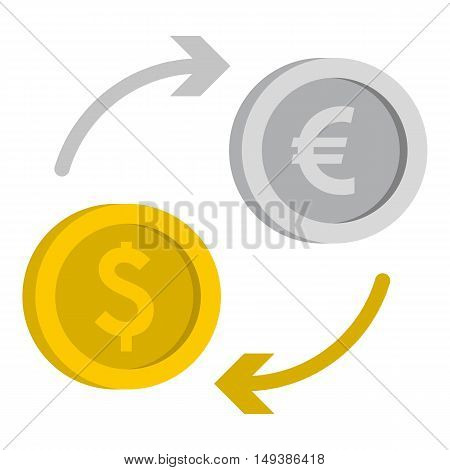 Money exchange icon in flat style isolated on white background. Currency symbol vector illustration