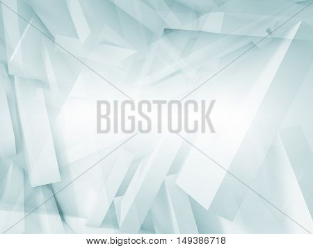 Blue And White Chaotic Polygonal Blocks Pattern