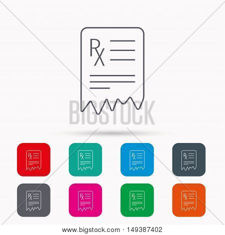 Medical prescription icon. Health document sign. Linear icons in squares on white background. Flat web symbols. Vector