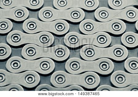 Background made of bicycle chain macro shot