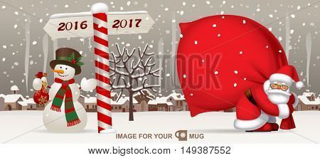 Santa Claus carrying a big red sack, snowman and wooden sign showing the way to 2017 against the the winter country landscape. Easy to insert on a classic mug. Vector illustration