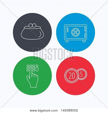 Cash money, safe box and wallet icons. Coins, enter code linear sign. Linear icons on colored buttons. Flat web symbols. Vector