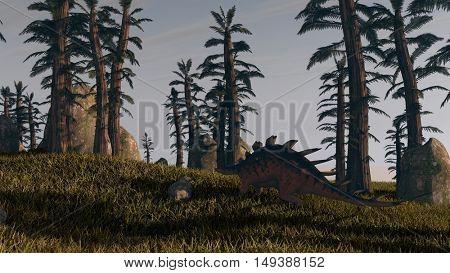 3d illustration of the walking kentrosaurus
