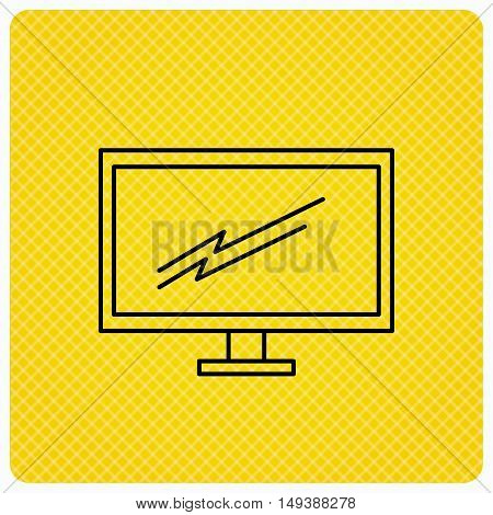 PC monitor icon. Led TV sign. Widescreen display symbol. Linear icon on orange background. Vector