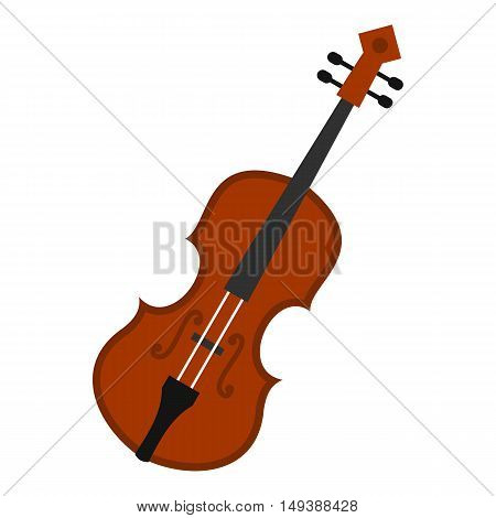 Cello icon in flat style isolated on white background. Musical instrument symbol vector illustration