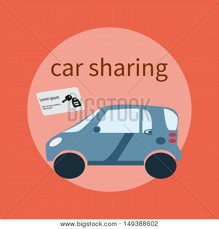 Web banner design for car sharing site or advertisement. Vector background of car sharing services