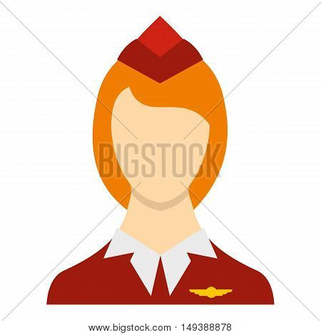 Stewardess icon in flat style isolated on white background. Work symbol vector illustration