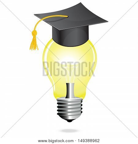 Idea and education concept icon light bulb vector student hat