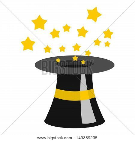 Magician hat icon in flat style isolated on white background. Tricks symbol vector illustration