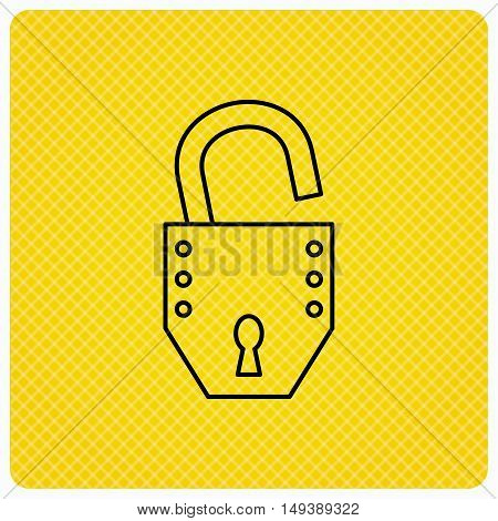 Open lock icon. Padlock or protection sign. Password symbol. Linear icon on orange background. Vector