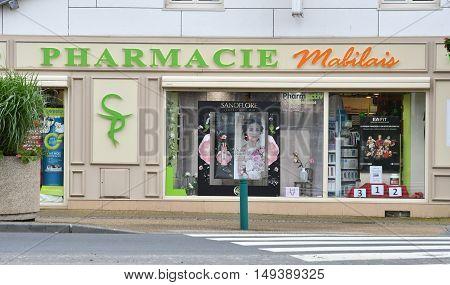 Le Mesnil Esnard France - june 22 2016 : pharmacy in city center