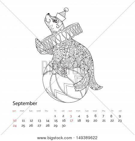 Hand Drawn Doodle Outline Sea Lion.