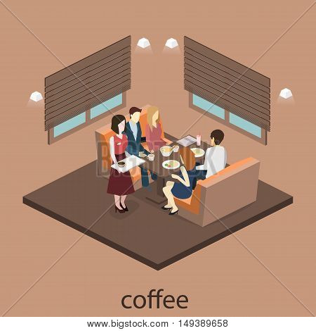 Isometric Interior Of Cafe Shop. Flat 3D Isometric Design Interior Cafe Or Restaurant. People Sit At