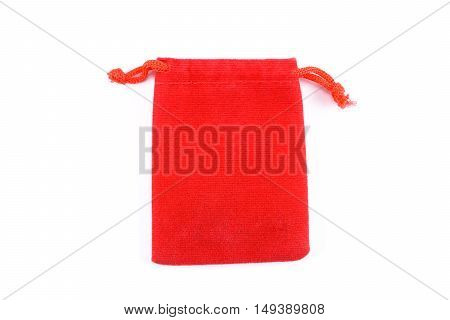 red bag fabric are opening isolated on white background