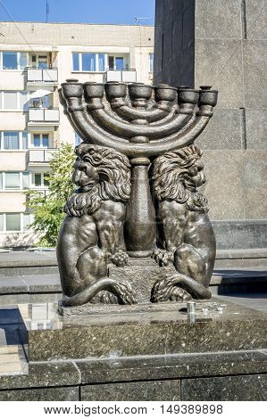 WARSAW, POLAND - SEPTEMBER 27: Lions with Menorah, part of the Monument to the Ghetto Heroes by Nathan Rapoport near the Museum of the History of Polish Jews in Warsaw, Poland on September 27, 2016