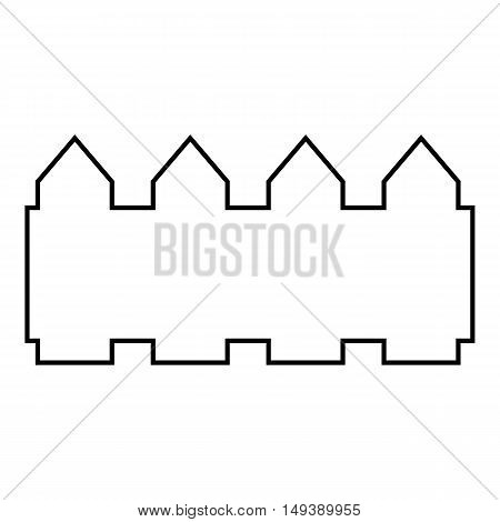 Castle icon in outline style isolated on white background. Play symbol vector illustration