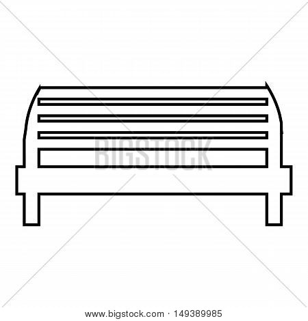 Bench icon in outline style isolated on white background. Seat symbol vector illustration
