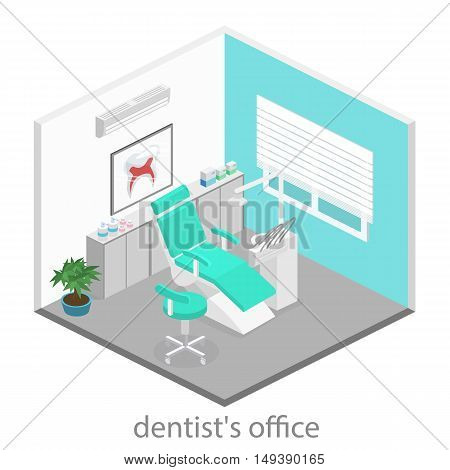 Isometric Flat Interior Of Dentist's Office.flat 3D Illustration