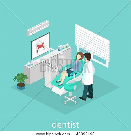 Isometric Flat Interior Of Dentist's Office. Doctors Treating The Patient.