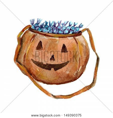 Halloween sack with candies and sweets Hand drawn image