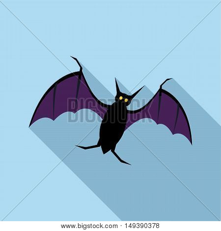 Bat icon in flat style with long shadow. Fly symbol vector illustration