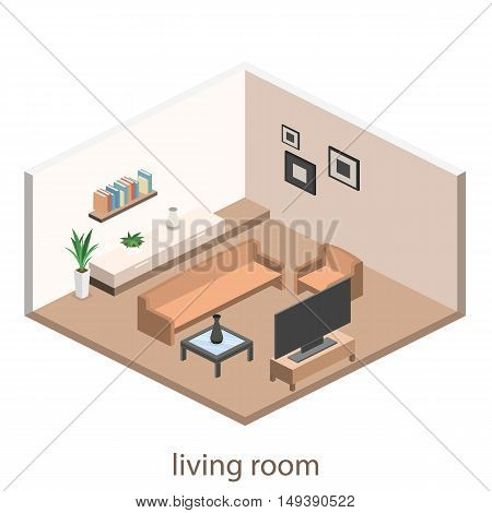 Isometric Interior Of A Modern Living Room