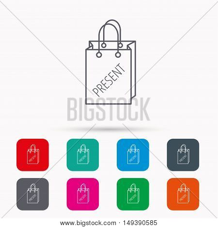 Present shopping bag icon. Gift handbag sign. Linear icons in squares on white background. Flat web symbols. Vector