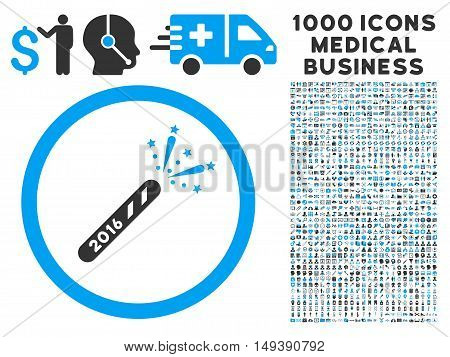 2016 Firecracker icon with 1000 medical business gray and blue vector design elements. Clipart style is flat bicolor symbols, white background.
