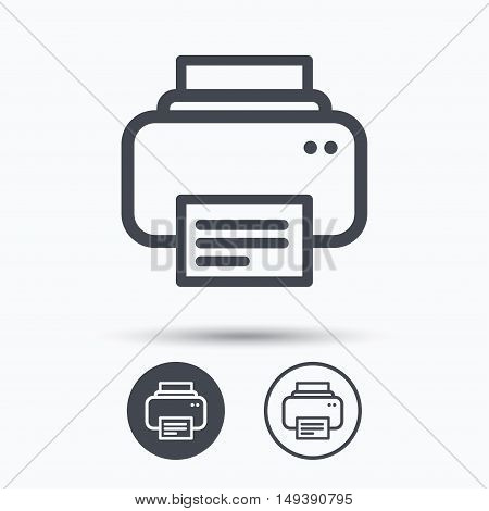 Printer icon. Print documents technology symbol. Circle buttons with flat web icon on white background. Vector