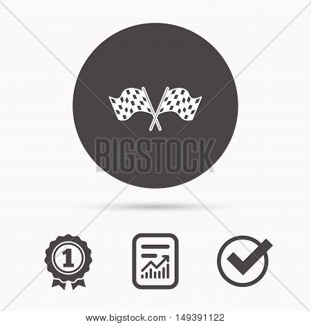 Crosswise racing flags icon. Finishing symbol. Report document, winner award and tick. Round circle button with icon. Vector