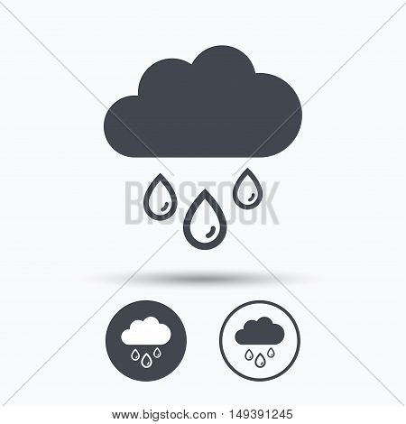 Cloud with rain drops icon. Rainy day symbol. Circle buttons with flat web icon on white background. Vector