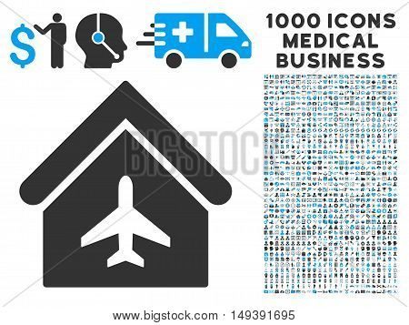 Aircraft Hangar icon with 1000 medical commerce gray and blue vector pictograms. Set style is flat bicolor symbols, white background.